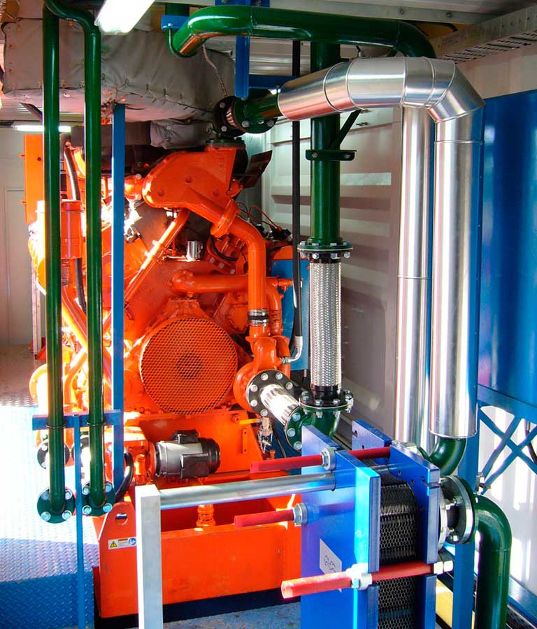 Cogeneration module with heat exchanger