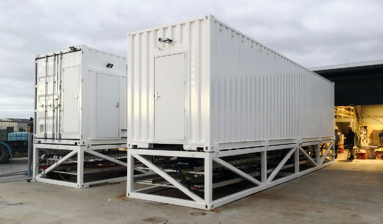 Mobile plant rooms ready for transport to site